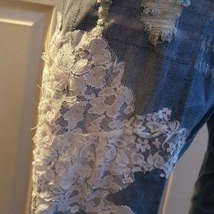 Sebrina Love Jeans - CUSTOM Boho Festival Beaded Lace Destroyed Jeans